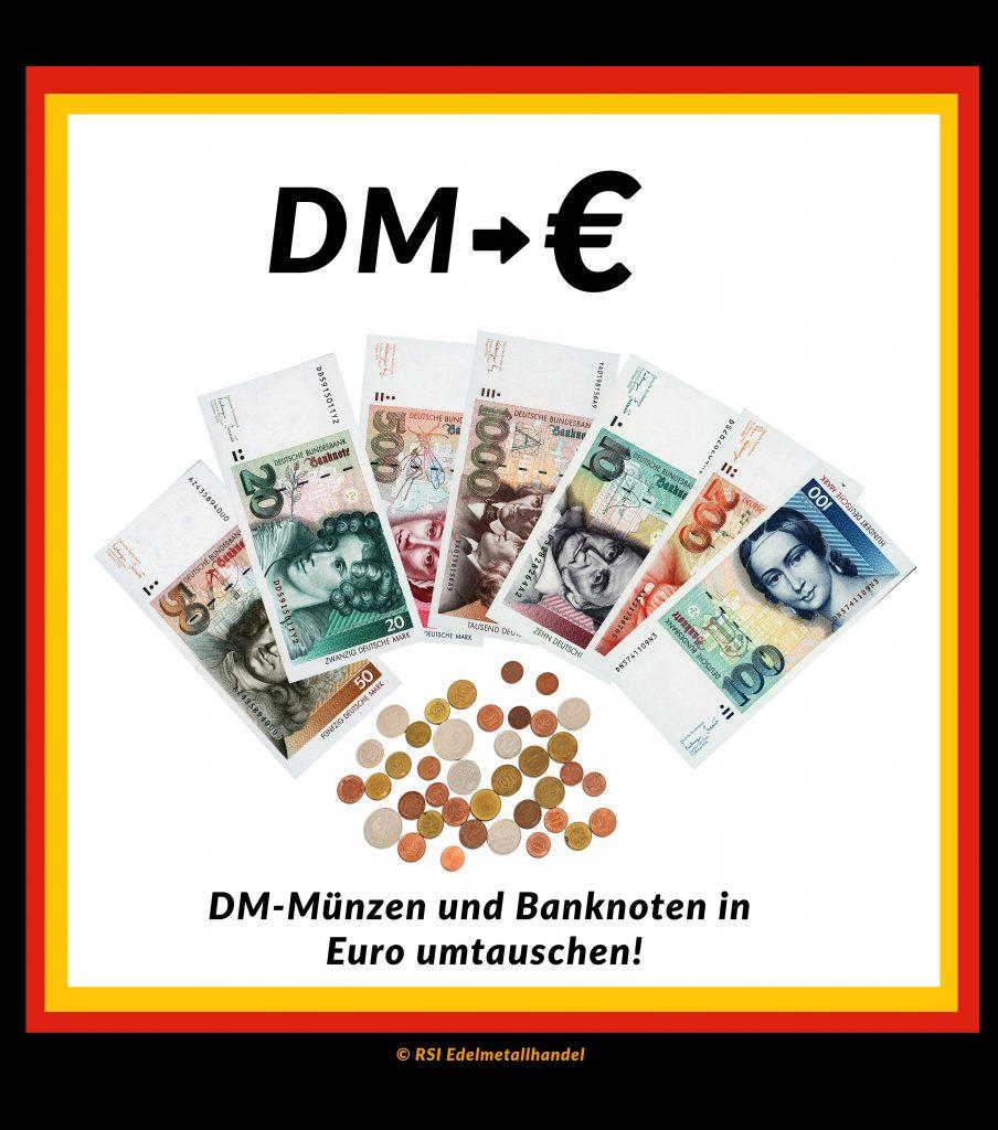 dm-münzen und banknoten in Euro umtauschen